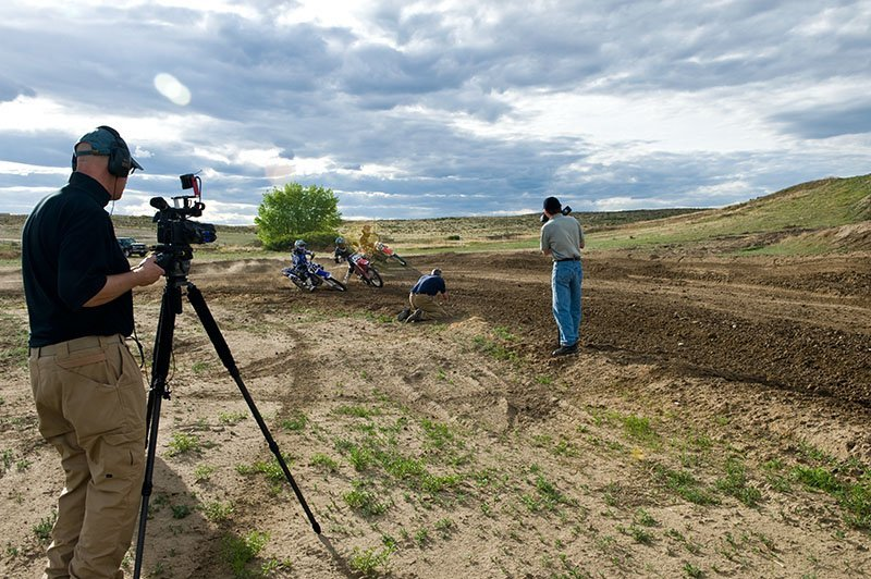 Paul taping video episode of motocross with Dave Black photography