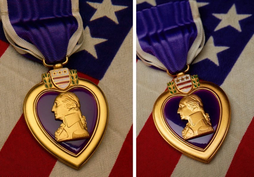 Purple Heart Medal Shot with View Camera and a DRSL