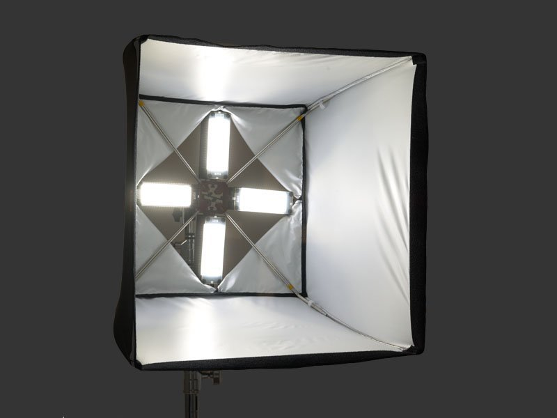The Foursquare softbox fitted with four LED video lights.