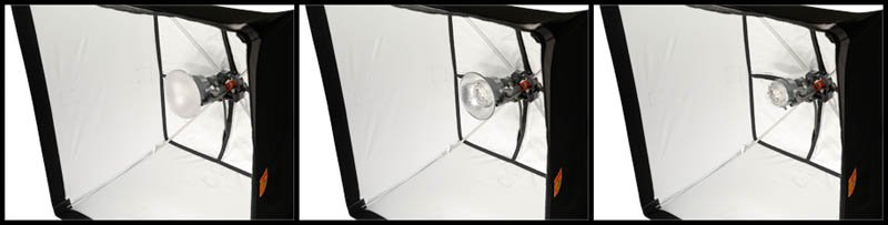 "FourSquare FSK30 30"" softbox with the elinchrom quadra head with reflector, diffuser. and bare head"