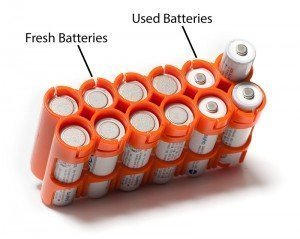 batteries showing used and fresh charge